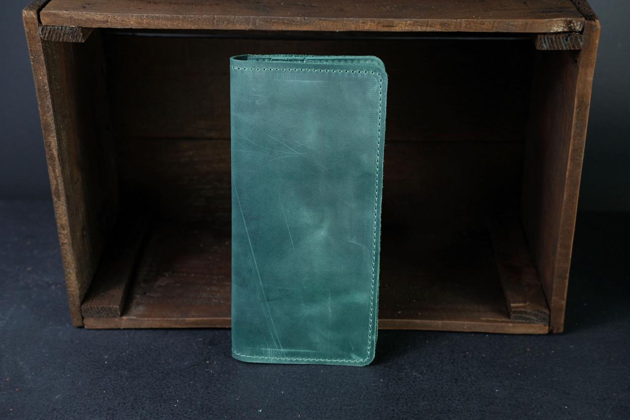 Кошелек клатч Лонг на 12 карт Винтажная кожа цвет Зеленый