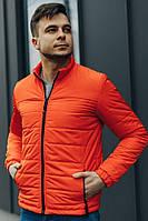 Куртка короткая демисезонная стеганая мужская оранжевая
