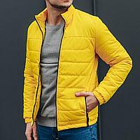 Куртка короткая демисезонная стеганая мужская желтая