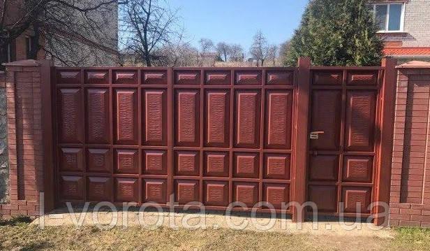 Филенчатые распашные ворота ш3900, в2200 и калитка ш900, в2200(асимметричные филенки)