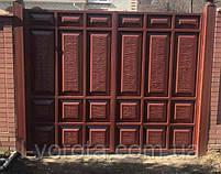 Филенчатые распашные ворота ш3900, в2200 и калитка ш900, в2200(асимметричные филенки), фото 2