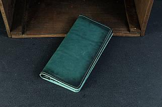 Кошелек клатч Лонг на 12 карт Кожа Итальянский краст цвет Зеленый, фото 2