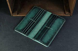 Кошелек клатч Лонг на 12 карт Кожа Итальянский краст цвет Зеленый, фото 3