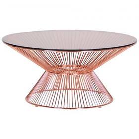 Стол журнальнй Owi каркас металлический розовое золото столешница каленое стекло D900 мм (AMF-ТМ)