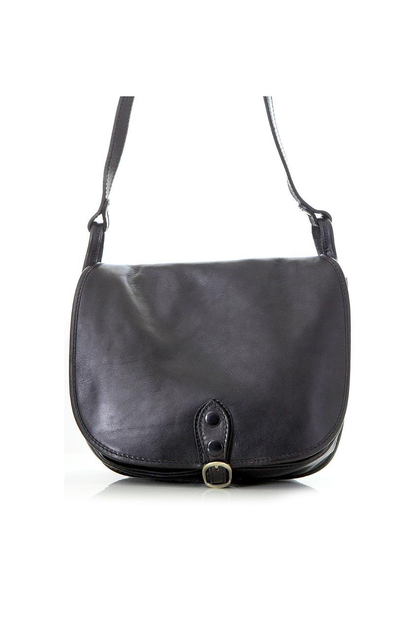Синяя сумка кроссбоди кожаная для женщин PAOLA Diva's Bag цвет черный B 25 см, H 20 см, V 12 см
