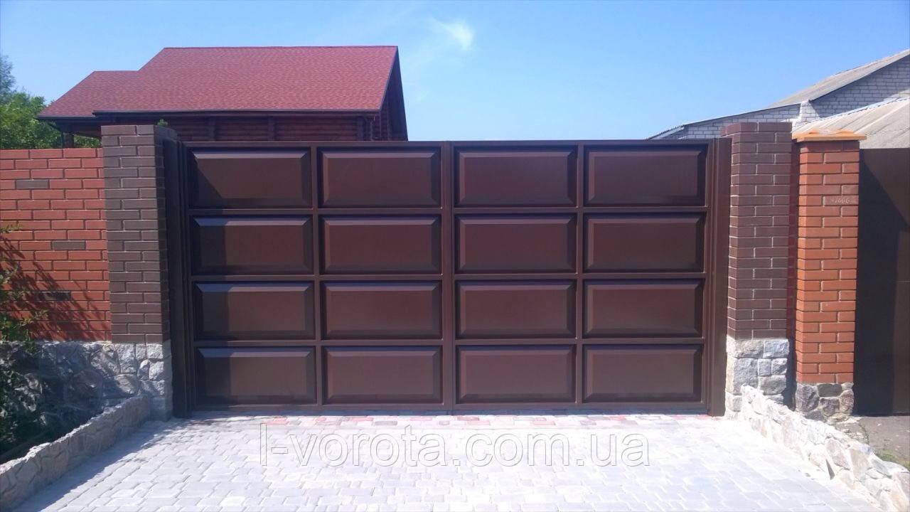 Автоматические филенчатые распашные ворота ш3500, в 2000 (дизайн шоколадка)