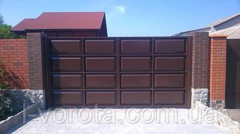 Автоматические филенчатые распашные ворота (дизайн шоколадка)