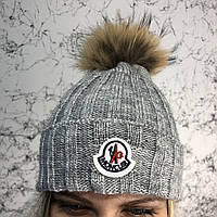 Moncler Winter Hat Knitted Pompon Gray