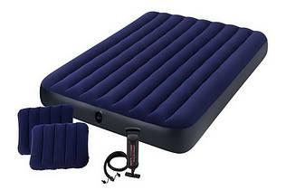 Надувной матрас Intex 64765, 152х203х25 см. с двумя подушками, ручным насосом