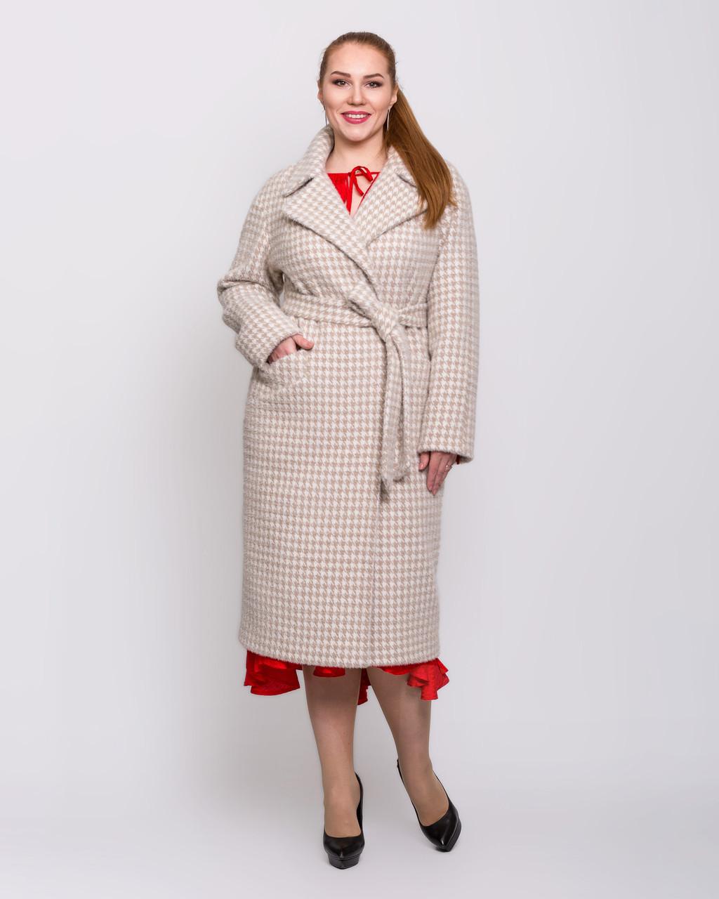 Жіноче демісезонне пальто з кашеміру з поясом великого розміру 50-54 р
