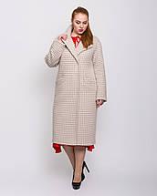 Жіноче демісезонне пальто з кашеміру з поясом великого розміру 50-54 р, фото 2