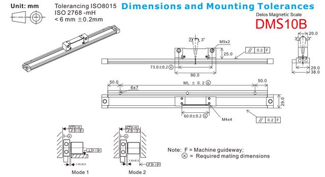 Магнитные линейки Delos DM-A 2000 мм 5 мкм