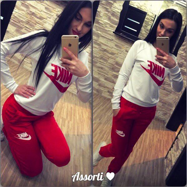 09a38456 Спортивный костюм женский Nike красный , купить спортивный костюм ...