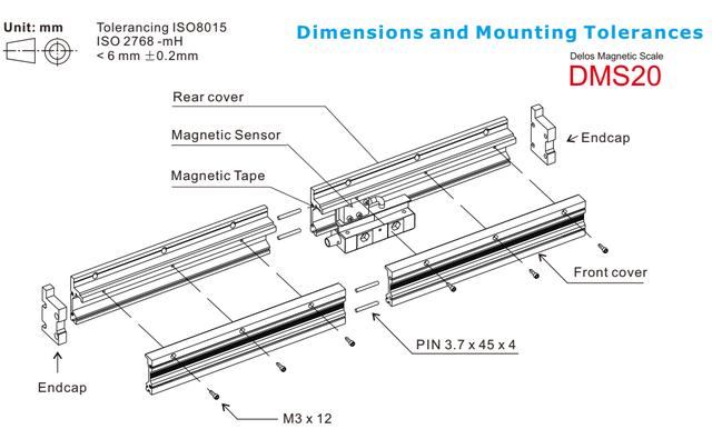 Монтажный профиль для закрытой магнитной линейки DMS20 (DM-B) Delos