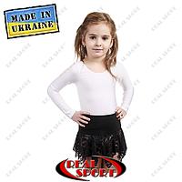Юбка для танцев и хореографии детская хлопок с гипюром. Цвет черный