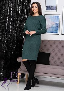 Демисезонное прямое платье до колен из ангоры темно-зеленое