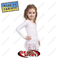 Юбка для танцев и хореографии детская хлопок с гипюром. Цвет белый