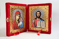 Ікона подвійна книжка в червоному бархаті