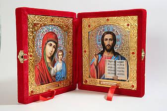 Икона двойная, книжка в красном бархате