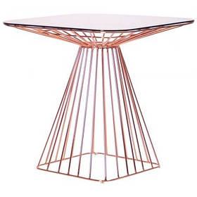 Стол обеденный квадратный Tern каркас розовое золото столешница каленое стекло 750*750 мм (AMF-ТМ)