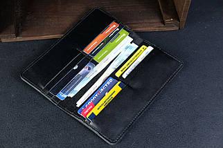 Кошелек клатч Лонг на 12 карт Кожа Итальянский краст цвет Черный, фото 2