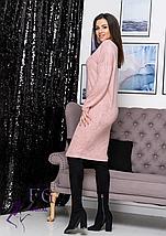 Стильное весеннее прямое платье миди из ангоры фрезовый, фото 2