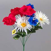 5021 (4 шт) Букет (троянда, ромашка, волошка)