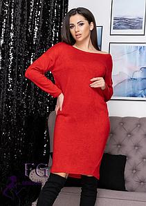 Свободное весеннее прямое платье миди из ангоры красный