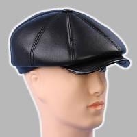 Мужская  кепка чёрная из  натур кожи восьмиклинка 56 58 59 60 61