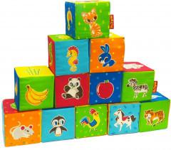 """Набір м'яких кубиків """"Тварини"""" 12 штук, в сумці 34*26*10 см"""