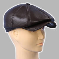 Мужская кепка восьмиклинка коричневая из кожи 56 58