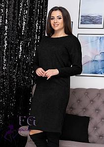 Прямое демисезонное платье средней длины из ангоры черный
