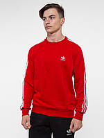 Свитшот утепленный в стиле Adidas красный