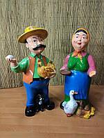 Садовая фигура Хозяин и Хозяйка,Дед с курицей, Баба с уткой.