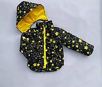 Демисезонная куртка для девочки «Звезды, черная» размеры 2-9 лет. Весна/Осень. Цвета в ассортименте.