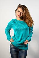 Джемпер пуловер кофточка кофта нарядная бирюзовая с узором-цветы размер 46-48
