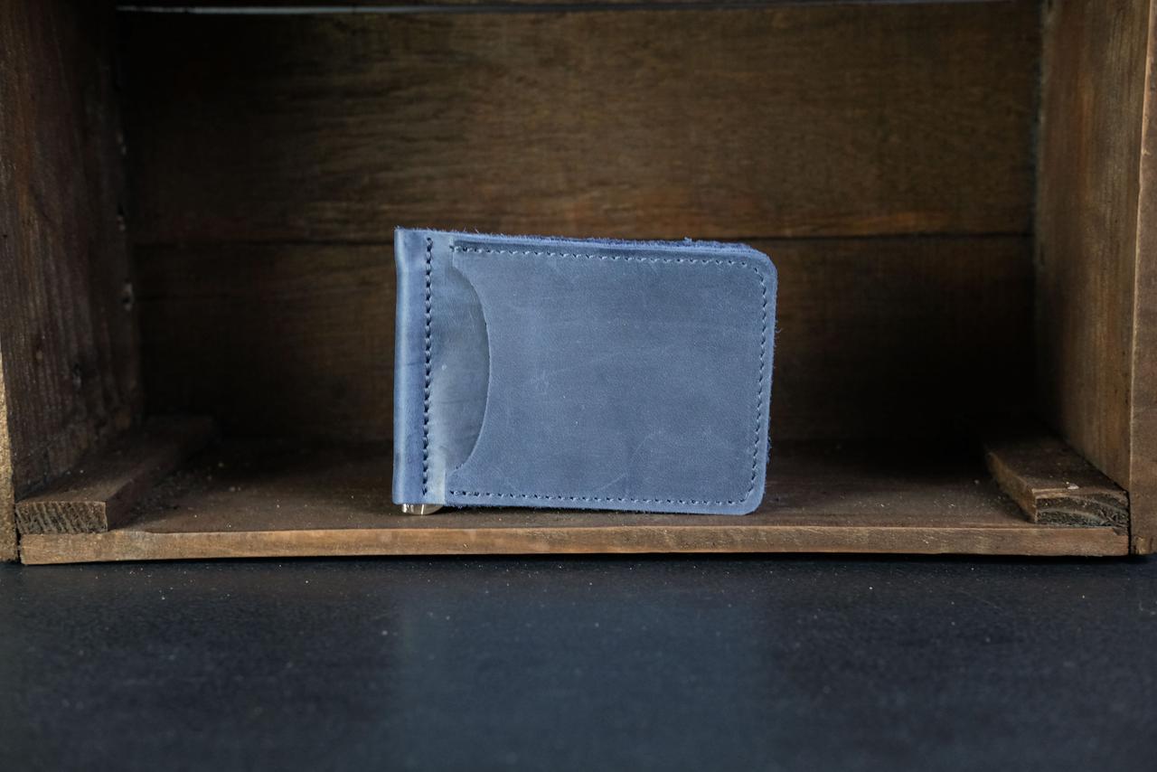 Затиск для грошей Вінтажна шкіра колір Синій