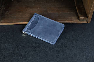 Затиск для грошей Вінтажна шкіра колір Синій, фото 2