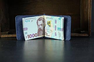 Затиск для грошей Вінтажна шкіра колір Синій, фото 3