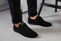 Туфли мужские черные замшевые на шнурках 45
