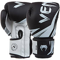 Перчатки боксерские PU на липучке VENUM Challenger черные с белым (СКИДКА НА 8 унций) BO-0866 OF