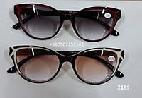 Женские солнцезащитные очки с диоптриями, очки с тонированными линзами. Бабочки. Модель 2189, фото 1