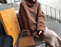 Свитер женский теплый с высоким воротником, реглан, коричневый S\М, опт, фото 1
