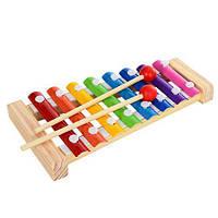 Деревянная игрушка Ксилофон для Бизиборда деревянный 23 см 8 тонов дерев'яний металлофон, MD 0713, 003819