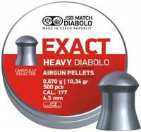 Пули пневматические JSB Diabolo Exact Heavy. Кал. 4.52 мм. Вес - 0.67 г. 500 шт/уп