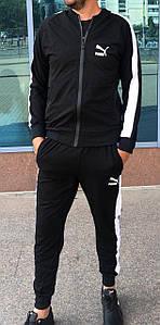 Мужской черный спортивный костюм с лампасами S-XXL р