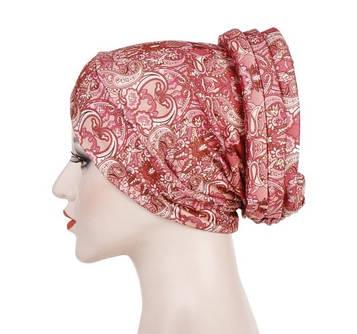 Шикарна чалма хіджаб рожева з принтом