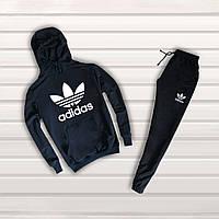 Мужской спортивный трикотажный костюм Adidas с капюшоном   black, фото 1