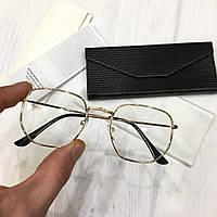 Іміджеві окуляри овальні золотисті унісекс