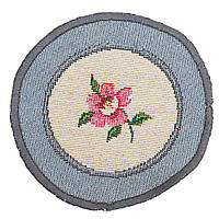 Салфетка-подкладка гобеленовая круглая цветы цветочный узор розы Ø10 см